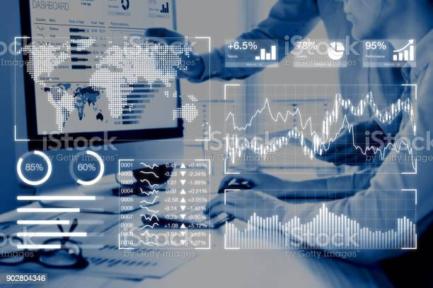 Business Analytics Dashboard Reporting Concept With Kpi People Analyzing Data Stock Photo - Download Image Now