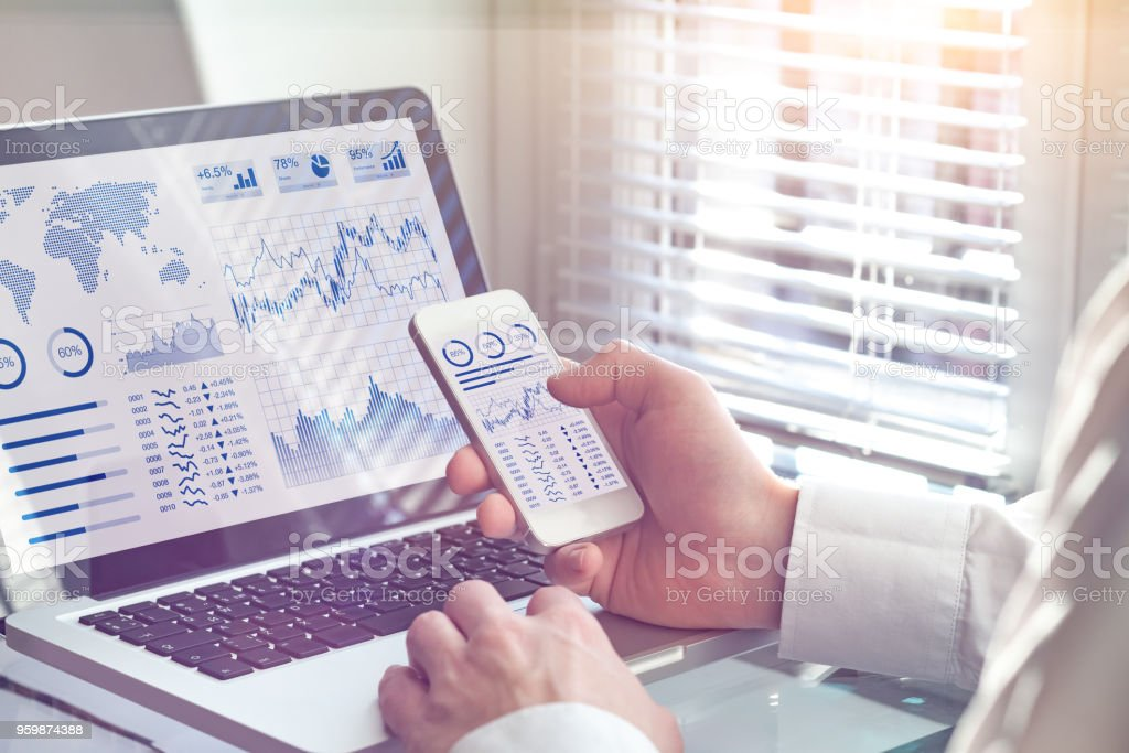 Business analytics dashboard technology on screen, financial operations statistics KPI Business analytics dashboard technology on computer and smartphone screen with key performance indicator (KPI) about financial operations statistics and return on investment, office worker Adult Stock Photo