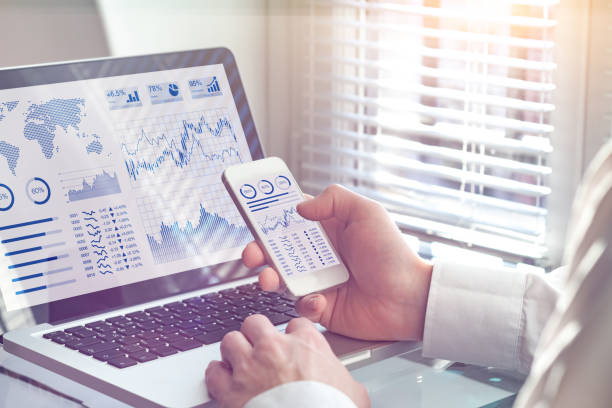 Business analytics dashboard technology on screen, financial operations statistics KPI stock photo