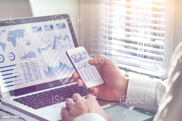 Business Analytics Dashboard Technology On Screen Financial Operations Statistics Kpi Stock Photo - Download Image Now