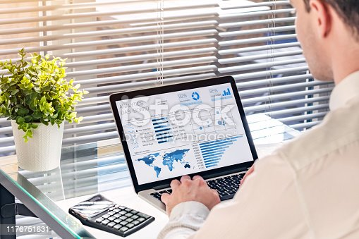 1068812018istockphoto Business analytics dashboard with sales performance and operations data with professional executive analyzing KPI and metrics about revenue. BA or BI report on computer screen in office 1176751631