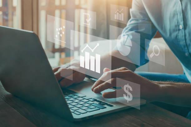business analytics intelligence BI concept, KPI, financial charts stock photo