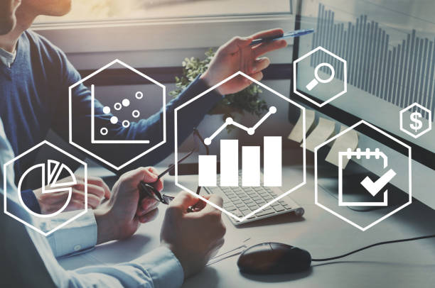 business analytics intelligenz-konzept, finanz-charts, profit und finanzen zu analysieren. - geschäftsstrategie stock-fotos und bilder