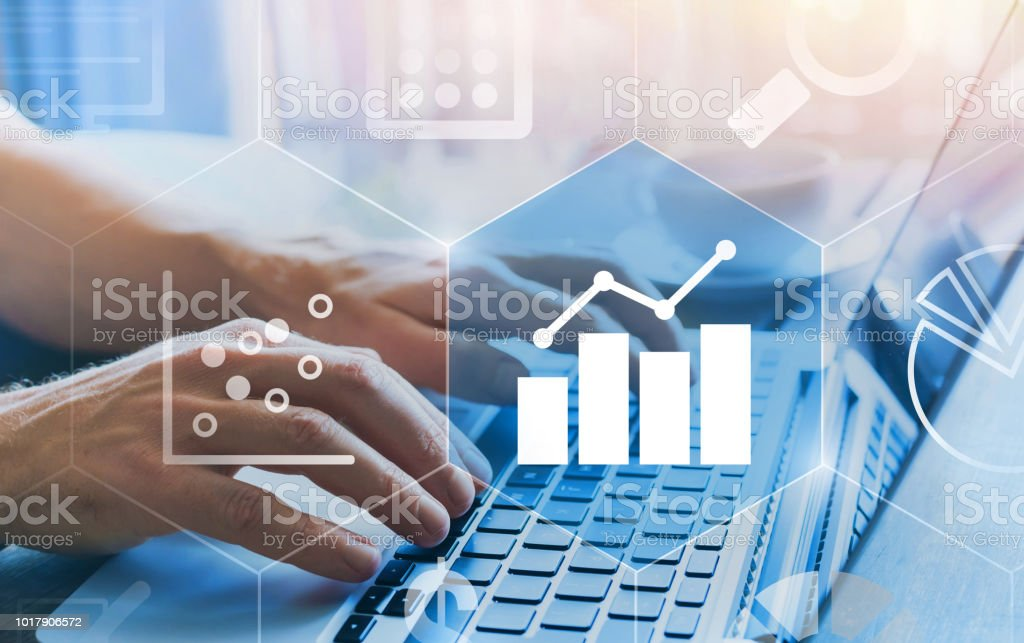 business analytics intelligence concept with financial charts stock photo