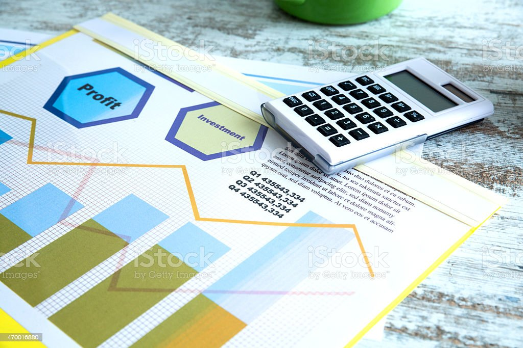 Business Analytics with Coffee stock photo