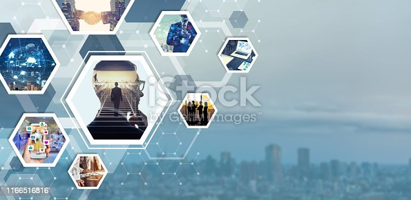 istock Business and communication concept. Advertising banner design template. 1166516816