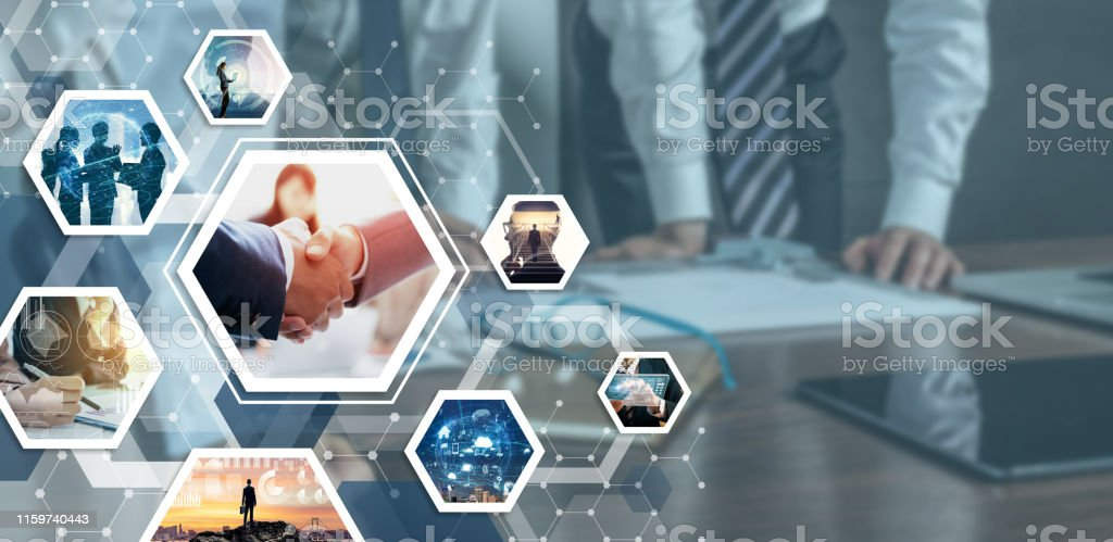 Business and communication network concept. Business partnership concept. - Royalty-free 5G Stock Photo