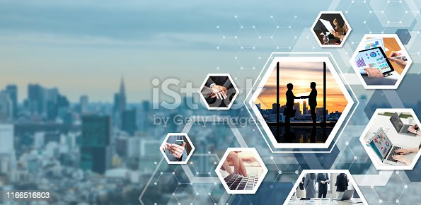 istock Business and communication network concept. Business partnership. 1166516803