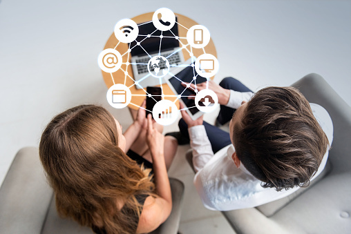 istock Business and communication network concept 1164404688