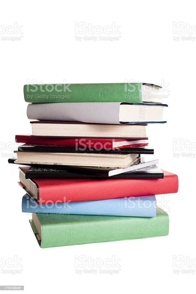 Business and Education:  Stack of books on white background royalty-free stock photo