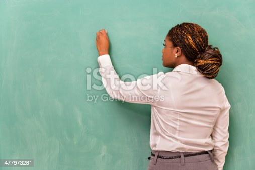 istock Business and Education:  Young woman writing on blank chalkboard. 477973281