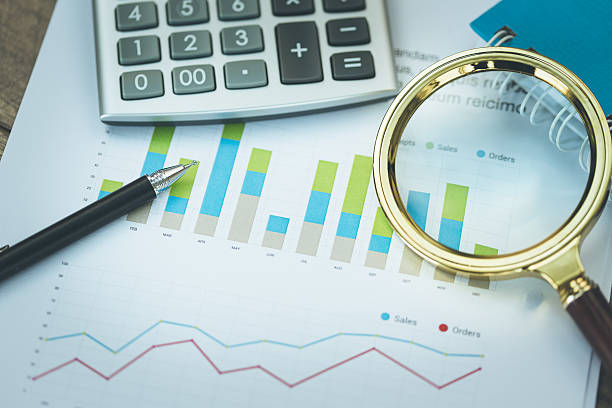 Business and Finance Concept: Analyzing Financial Report – Foto