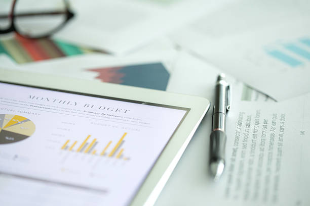 Business and Finance Concept: Business Chart on Desk stock photo