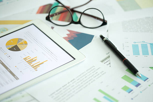 Business and Finance Concept: Business Chart on Desk Business and Finance Concept: Business Chart on Desk scrutiny stock pictures, royalty-free photos & images