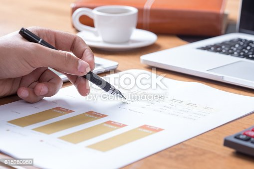 Business and Finance Concept: Businessman Analyzing Financial Charts