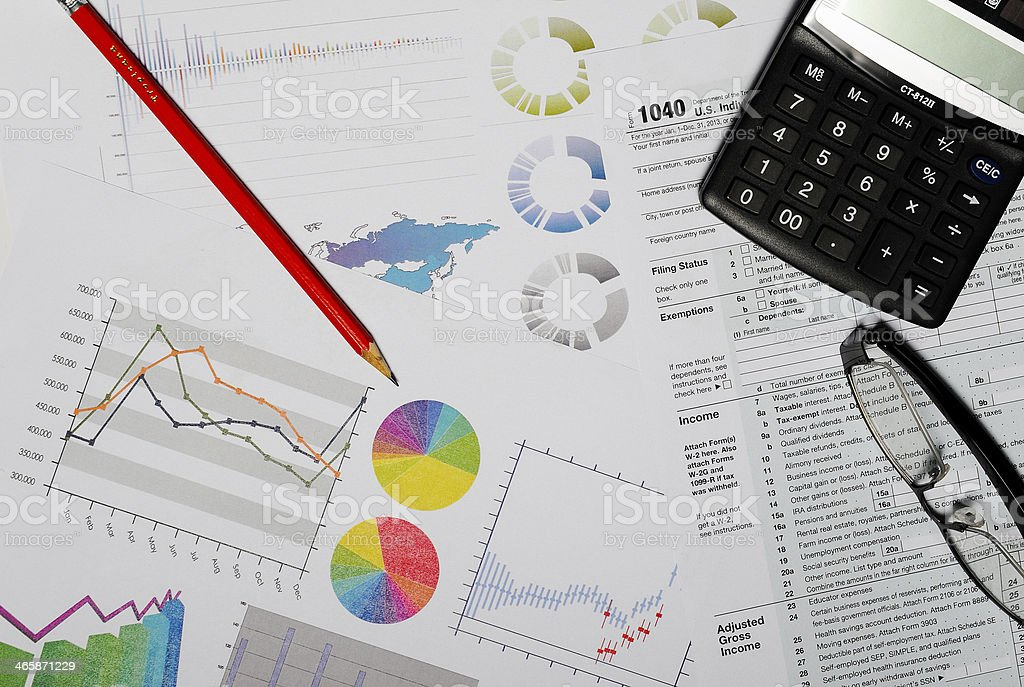 Business and finance concept, graphs, charts, markets and financial figures stock photo