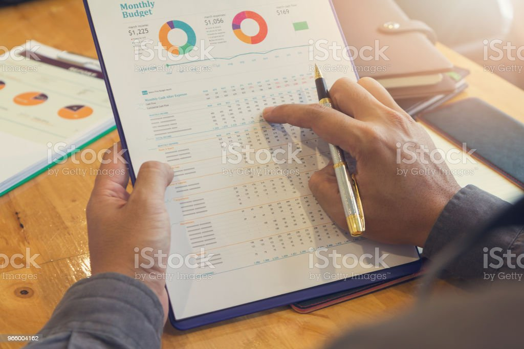 Business and finance concept of office working, Businessman discussing sale analysis Chart - Royalty-free Accountancy Stock Photo