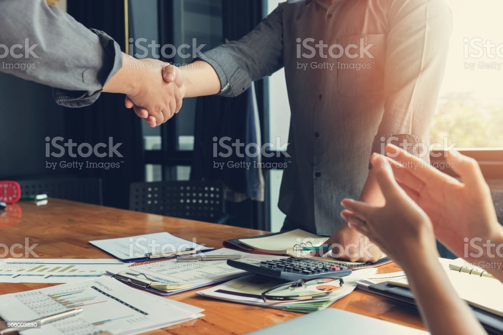 Business and finance concept of office working, Businessman shaking hand in meeting room - Royalty-free Accountancy Stock Photo