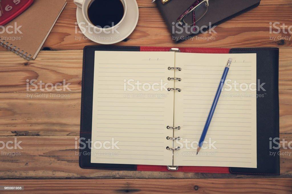 Business en Financiën concept van office werkt, Bureau in werkdag. Bovenaanzicht - Royalty-free Accountancy Stockfoto