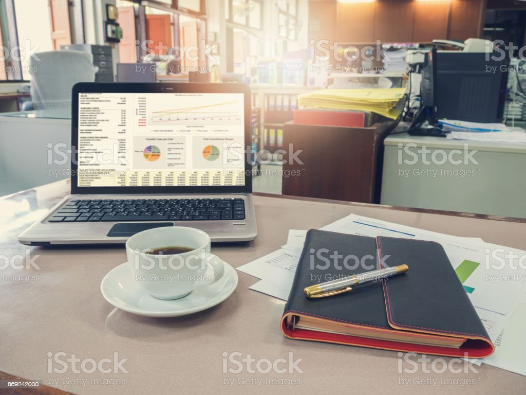 laptop office desk. Business And Finance Concept Of Office Working, Desk With Laptop, Notebook, Coffee Laptop J
