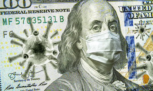 Covid19 Business And Financial Crisis Concept Dollar Money Bill With Coronavirus Icons 3d Illustration Covid Impacts Global Stock Market Stock Photo - Download Image Now
