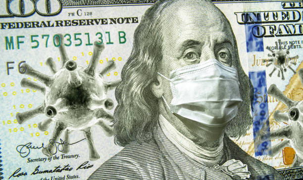 COVID-19, business and financial crisis concept, dollar money bill with coronavirus icons, 3D illustration. COVID impacts global stock market. stock photo