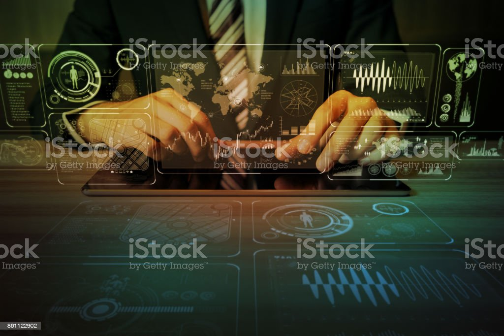 business and information technology abstract. IoT(Internet of Things). ICT(Information Communication Network). Mixed media. stock photo
