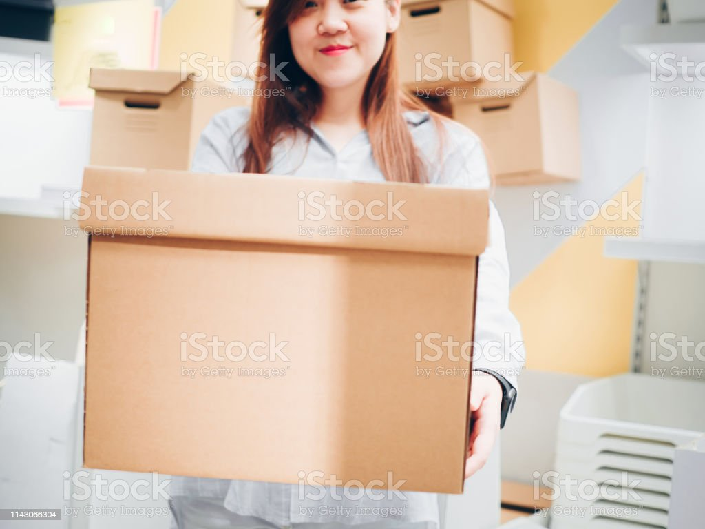 business and job for woman in labor day from beautiful girl pack box...