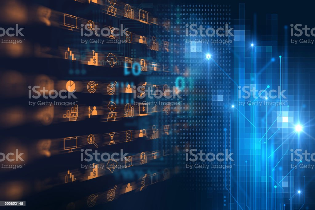 business and learning icon  on blue technology background stock photo