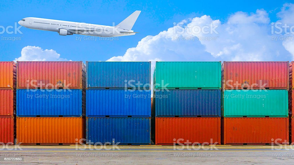 Business and logistics. Cargo transportation and storage. Equipm stock photo