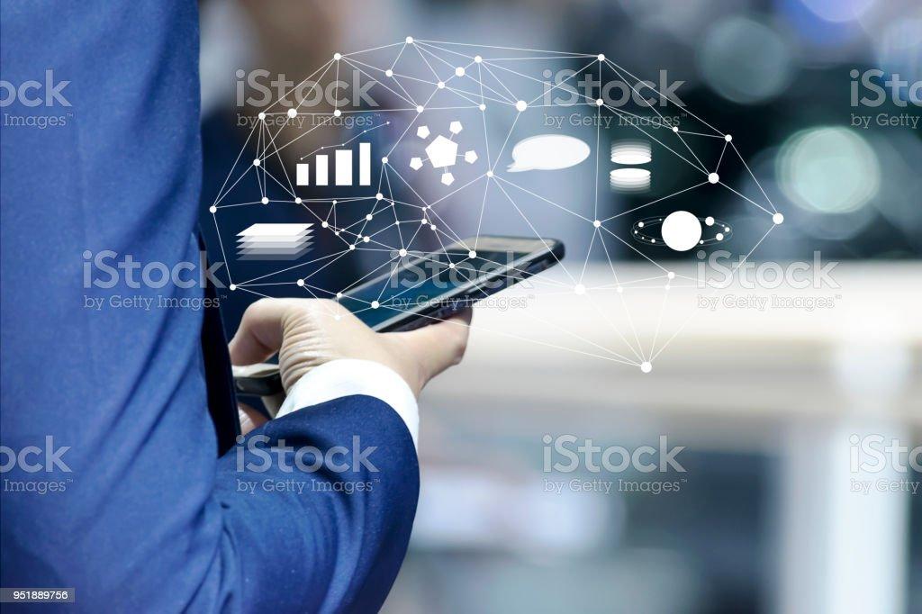 Geschäfts- und Marketing-Online-app auf dem Smartphone-Konzept. – Foto