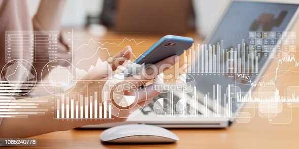 istock Business and statistics concept. 1065240778