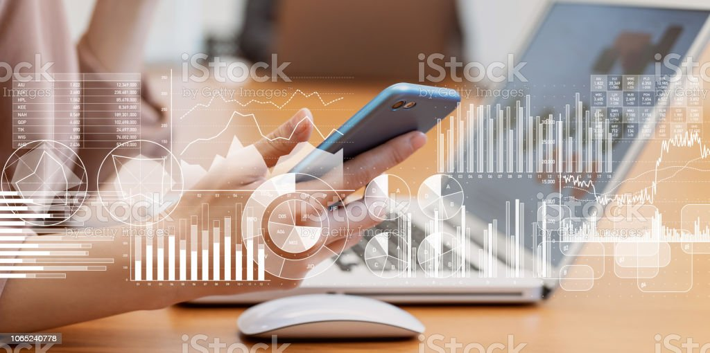 Business and statistics concept. stock photo