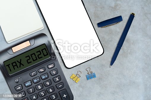 1136634036 istock photo Business and tax concept. Pay tax in 2020 years. 1225610916