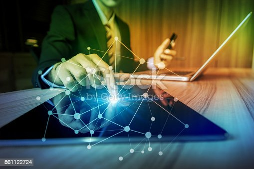 875512438 istock photo business and technology abstract. IoT(Internet of Things). ICT(Information Communication Technology). Mixed media. 861122724