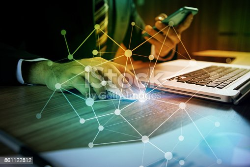 875512438 istock photo business and technology abstract. IoT(Internet of Things). ICT(Information Communication Technology). Mixed media. 861122812