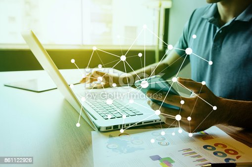 875512438 istock photo business and technology abstract. IoT(Internet of Things). ICT(Information Communication Technology). Mixed media. 861122926