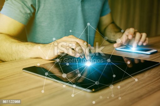 875512438 istock photo business and technology abstract. IoT(Internet of Things). ICT(Information Communication Technology). Mixed media. 861122988