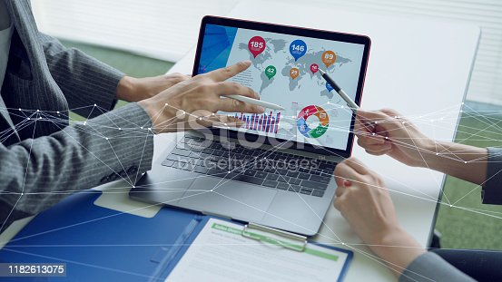 872677410 istock photo Business and technology concept. Communication network. Business strategy. 1182613075