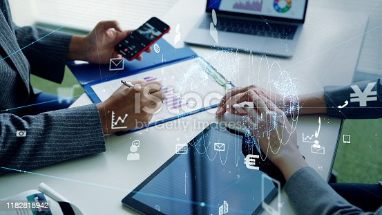 875503222 istock photo Business and technology concept. Communication network. Business strategy. 1182818942