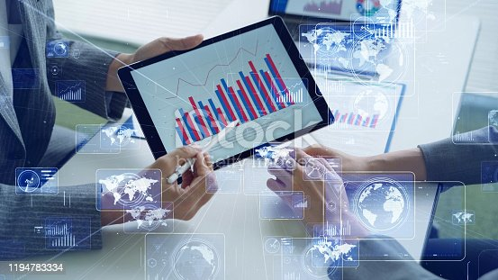675925952 istock photo Business and technology concept. Communication network. Business strategy. 1194783334