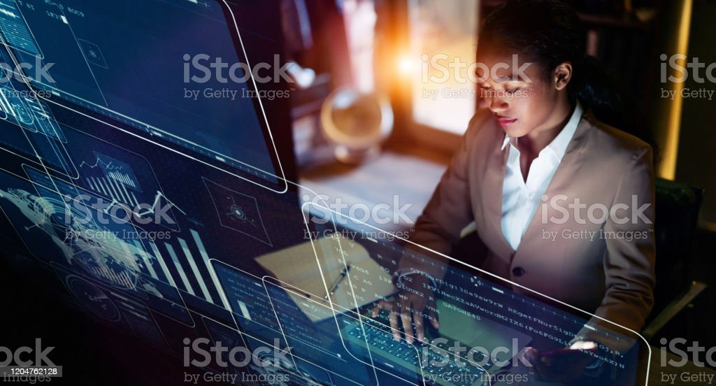 Business and technology concept. Communication network. GUI (Graphical User Interface). - Royalty-free Accessibility Stock Photo