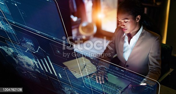 istock Business and technology concept. Communication network. GUI (Graphical User Interface). 1204762128