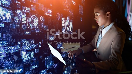 861122560 istock photo Business and technology concept. Communication network. GUI (Graphical User Interface). 1204762178