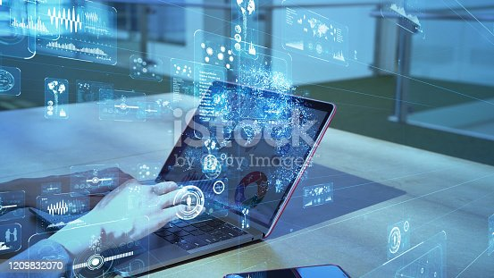 861122560 istock photo Business and technology concept. Communication network. GUI (Graphical User Interface). 1209832070