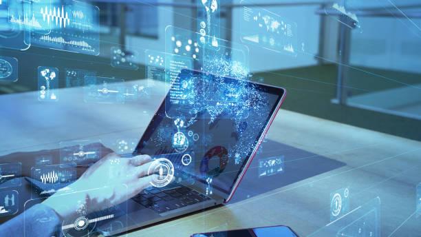 Geschäfts- und Technologiekonzept. Kommunikationsnetz. GUI (Grafische Benutzeroberfläche). – Foto