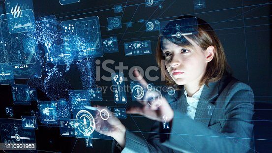 861122794 istock photo Business and technology concept. Communication network. GUI (Graphical User Interface). 1210901953