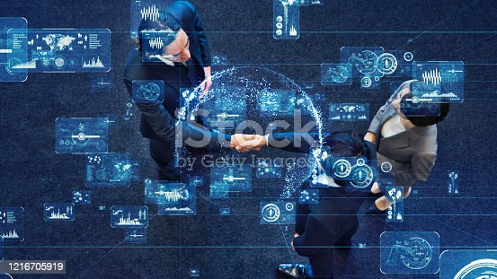 1079974636 istock photo Business and technology concept. Communication network. GUI (Graphical User Interface). 1216705919
