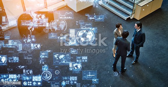 1079974636 istock photo Business and technology concept. Communication network. GUI (Graphical User Interface). 1216706449