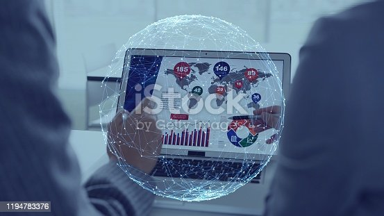 875512438 istock photo Business and technology concept. Communication network. 1194783376